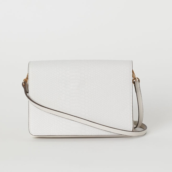 H&M Handbags - H&M Small Shoulder Bag Embossed Snake Light Beige